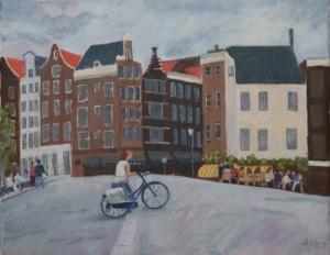 Sold. Biker in Amsterdam Nl. 30x40 cm acryl board