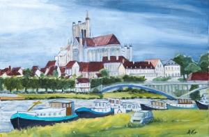 View on Auxerre Fr. 40x60 cm acryl canvas