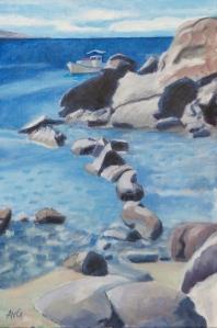 Bay at Mikonos Gr. 60x40 cm acryl canvas