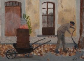 Street sweeper Flayosc Fr. 30x40 cm acryl board