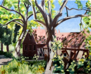 Farm in Backlight 40x50 cm acryl canvas