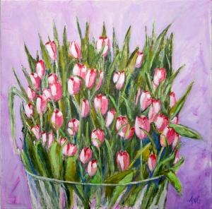 Vaas with tulips 50x50 cm acryl canvas