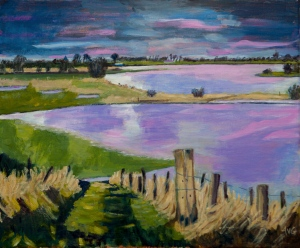 Sold. Zalk overflowing IJssel Nl. 50x60 cm acryl canvas