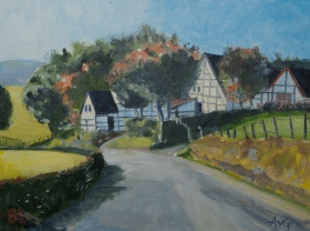 Half-timbered houses Epen Limburg Nl. 40x50 cm acryl canvas