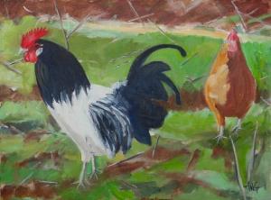 Chickens 30x40 cm acryl board