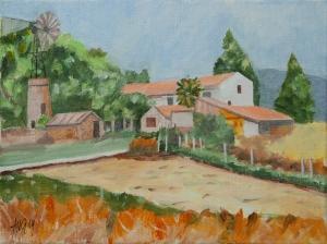 Farm in the Provence fr. 30x40 cm acryl board