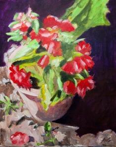Geraniums 50x40 cm acryl canvas