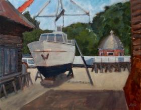 Yard  in Utrecht Nl. 40x50 cm acryl canvas