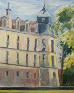Castel old Rekem Be. 50x40 cm acryl canvas
