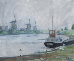 Kinderdijk in the mist Nl. 40x50 cm acryl canvas