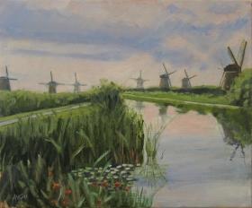 Kinderdijk Nl. 50x60 cm acryl canvas