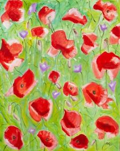 Poppies 120x80 cm acryl canvas