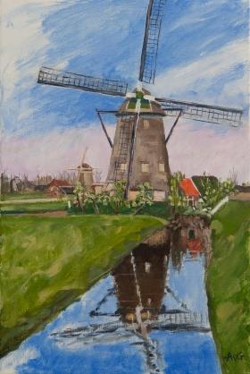 Mill near Maasland Nl. 60x40 cm acryl canvas