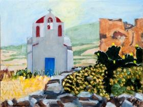 Chapel in Mikonos landscape 30x40 cm acryl board