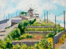 Mill on the hill Greece 30x40 cm acryl canvas