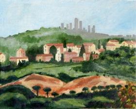 Misty maorning San Gigmignano Toscane It. 40x50 cm acryl canvas
