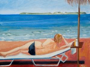 On the beach Kefalonia Gr. 30x40 cm acryl board