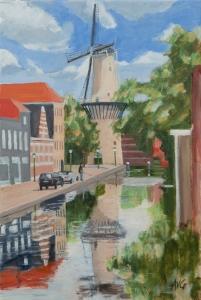 Mill in Schiedam Nl. 60x40 cm acryl canvas