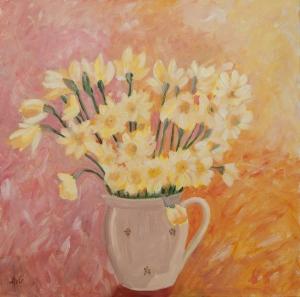 Daffodils 100x100 cm acryl canvas