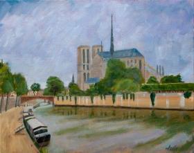 Notre Dame Paris Fr. 40x50 cm acryl canvas