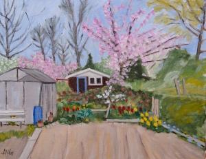 Allotment garden in Vlaardingen Nl. 40x50 cm acryl canvas