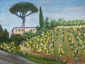 Parasol-den Toscane It. 40x50 cm acryl canvas