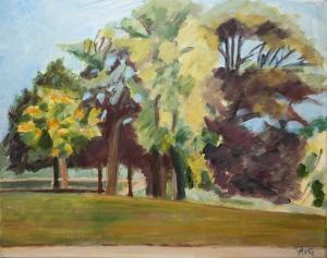 Parc Chateau Flammanville Normandy Fr. 40x50 cm acryl canvas