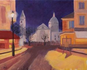 Montmartre by night Paris Fr. 40x50 cm Acryl canvas