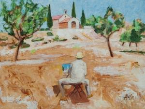 Plein air in Saint Remy de Provence Fr. 30x40 cm acryl canvas