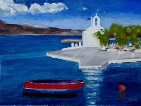 Church Naxos city Gr. 30x40 cm acryl canvas
