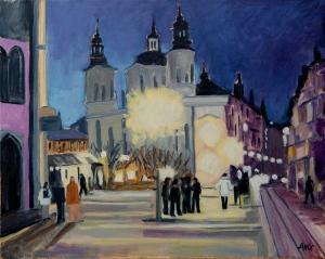 Prague by night Tjechie 40x50 cm acryl canvas