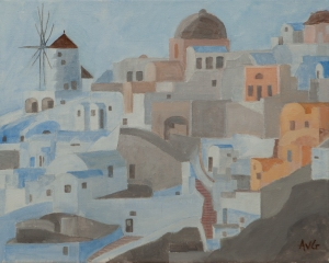 Oia Santorini Gr. 40x50 cm acryl canvas