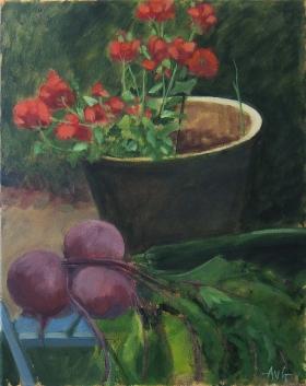 Sold. Geraniums 50x40 cm acryl canvas