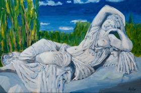 Sculpture in parc Versaille Paris Fr. 40x60 cm acryl canvas