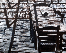 Shadow over the terrace 40x50 cm acryl canvas