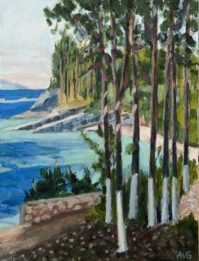 View on Levrechio beach Loggos Paxos Gr. 50x40 cm acryl board