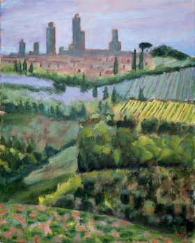 View on San Gigmignano Toscane It. 50x40 cm acryl canvas