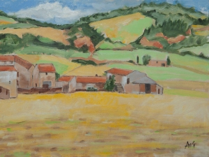 Village in the Provence Fr. 30x40 cm acryl board