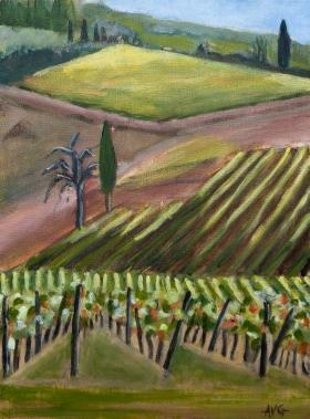 Vinyard San Donato Toscane It. 40x30 cm Acryl canvas