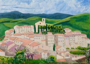 Sold. Flayosc Provence Fr. 50x70 cm acryl canvas