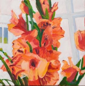 Gladiolus 50x50 cm acryl canvas