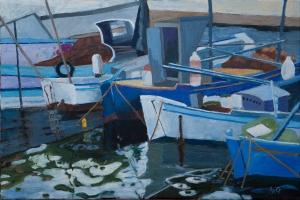 Sold. Port of Limenas Thassos Gr. 40x60 cm acryl canvas