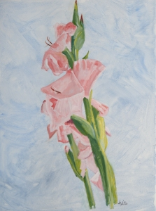 Gladiolen 80x60 vm acryl canvas 2020