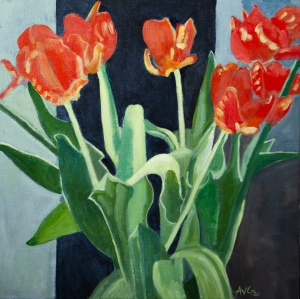 Tulips in sunlight 50x50 cm acryl canvas