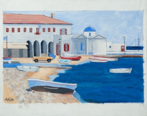 Port of Mikonos 40x50 cm acryl board
